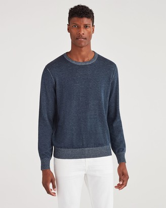 7 For All Mankind Bleeker Crew Neck Sweater in Plaited Navy