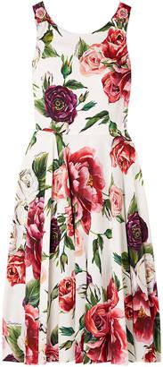 Dolce & Gabbana Embellished Floral-print Cady Dress