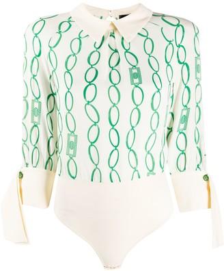 Elisabetta Franchi Chain Print Bodysuit