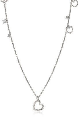 Nomination Sterling Silver and Cubic Zirconia Heart Charm Long Necklace