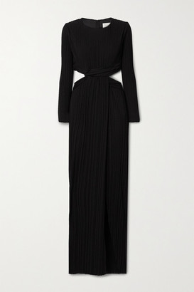 Semsem Cutout Pleated Jersey Gown - Black