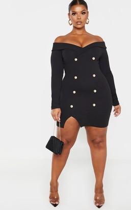 Bardot Apparelt Plus Black Gold Button Blazer Dress
