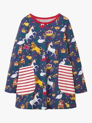 Boden Girls' Printed Jersey Tunic Top, Navy
