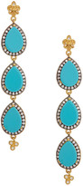 Freida Rothman 14K Gold Plated Sterling Silver Triple Turquoise Slice Teardrop Linear Earrings