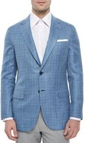 Brioni Check Two-Button Jacket, Light Blue