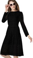 BeautyGal Women's Elegant Long Sleeve Lace A-Line Midi Dress