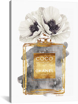 iCanvas Perfume Bottle, Dark Gold With Dark Grey & White Poppy By Amanda Greenwood