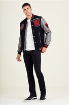 True Religion Mens Leather Varsity Jacket