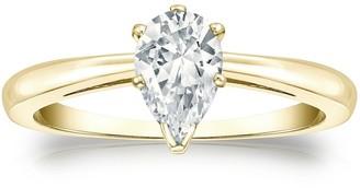 Auriya 14k Gold 3/4ctw Pear Shape Solitaire Diamond Engagement Ring