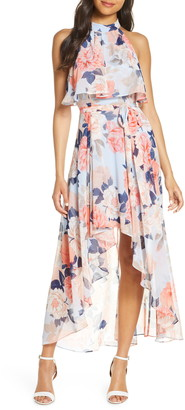 Eliza J Popover Halter High/Low Chiffon Maxi Dress