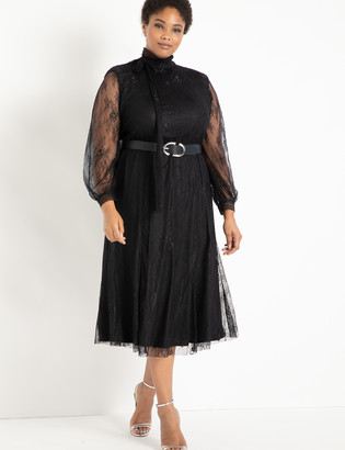 ELOQUII Lace Tie Neck Dress