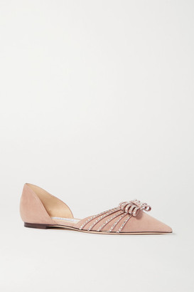 Jimmy Choo Kaitence Crystal-embellished Suede Point-toe Flats - Neutral