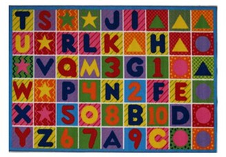Fun Rugs Fun Time Numbers and Letters Rectangle Rug, Multi-Color