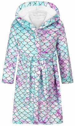 Silver Basic Kids Girls Cute Bathrobe Unicorn Nightgown Hooded Sleepwear Kids Dressing Gown with Tie Belt M