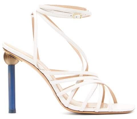 Jacquemus Pisa Mismatched Heel Suede Sandals - Womens - White