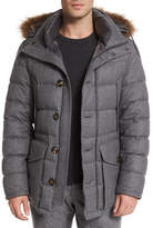 Moncler Rethel Fur-Trimmed Wool Jacket, Medium Gray
