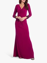 Adrianna Papell Embellished Draped Jersey Gown, Red Plum