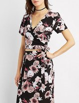 Charlotte Russe Floral Wrap Crop Top