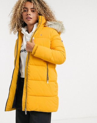 Tommy Jeans padded coat with faux fur hood-Yellow