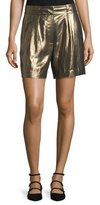 Elizabeth and James Paxton Single-Pleat Lamé Shorts, Gold
