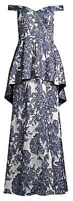 Aidan Mattox Women's Off-The-Shoulder Floral Peplum Gown