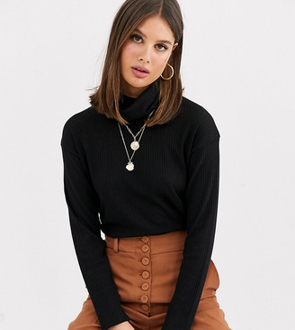Asos Tall DESIGN Tall top with roll neck in laddered rib in black