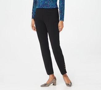 Dennis Basso Knit Twill Pull-On Ankle Pants with Rivet Trim
