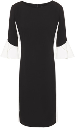 DKNY Ruffled Two-tone Stretch-crepe Dress