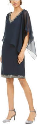 J Kara Embellished Overlay Sheath Dress