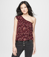 Printed Ruffled One-Shoulder Top