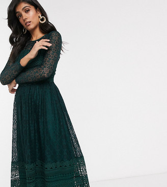 Asos DESIGN Tall Premium lace midi skater dress in green