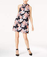 CeCe Mock-Neck Floral-Print Dress