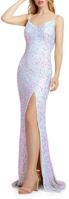 Mac Duggal Sequin V-Neck Thigh-Slit Column Gown