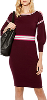 Karen Millen Stripe Knitted Dress, Dark Red