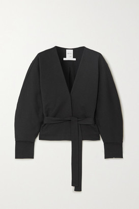 Bite Studios BITE Studios - Belted Organic Cotton-blend Wrap Blouse - Black