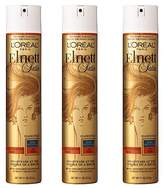 L'Oreal Elnett Satin Extra Strong Hold Hairspray - Color Treated Hair, 3 Count (Packaging May Vary)