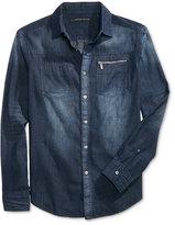 Sean John Men's Long-Sleeve Zip-Pocket Denim Shirt