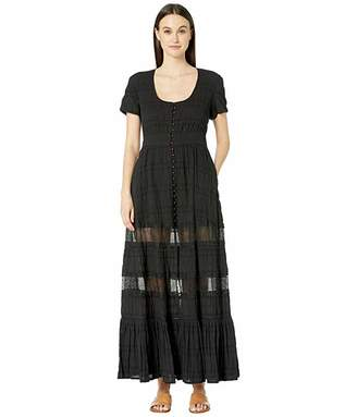 Jonathan Simkhai Lace Combo Front Slit Maxi Dress Cover-Up (Black) Women's Clothing
