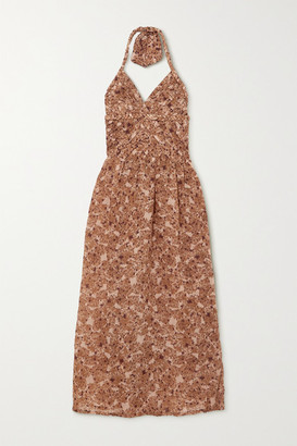 Yvonne S Belted Pleated Floral-print Linen Halterneck Midi Dress - Brown