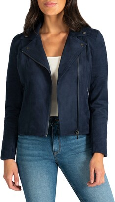 KUT from the Kloth Quilted Panel Faux Suede Moto Jacket