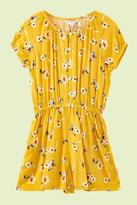 Yumi Girls Flower Print Summer Playsuit Yellow