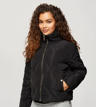 Miss Selfridge Petite quilted puffer jacket in black