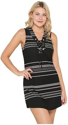 Dotti Dahlia Stripe Lace-Up Front Tank Dress Cover-Up (Black/White) Women's Swimwear