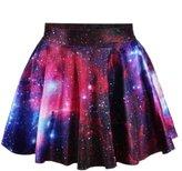 Raisevern Women's Printed Stretch Waist Flared Mini Skirt