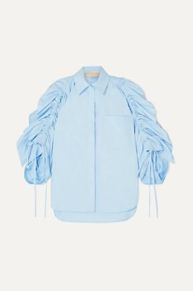 Antonio Berardi Ruched Cotton-poplin Shirt - Blue