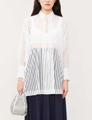 Azzedine Alaia Sheer-stripe cotton-blend shirt