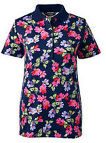 Lands' End Women's Tall Pima Polo Shirt-White Floral