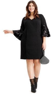 Vince Camuto Plus Size Sequined Bell-Sleeve Dress