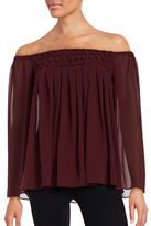 Bailey 44 Helena Off-The-Shoulder Pleated Chiffon Blouse