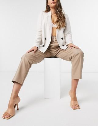 Vila faux-leather pants with waist belt in beige